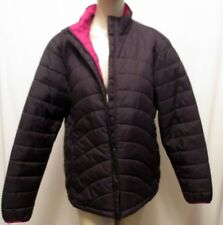 Lands End Poly Filled Insulation Brown Quilted Long Jacket Zip Size M 10-12