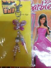 BARBIE PINK PEARL & SWAROVSKI KEY CHAIN/PURSE JEWELRY WITH LASER STICKERS