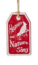 """KURT ADLER WOODEN VINTAGE NATURE TAG ORNAMENT """"HEAVEN AND NATURE SING"""""""