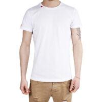 T-Shirt Uomo Maglia Mezza Manica Girocollo Casual Bianco Ricamo Rosso Cotone