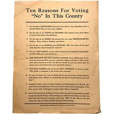 "Sobriety Flyer ephemera; ca. 1940s ""Ten Reasons for Voting ""No"" In This County"""