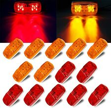 12V Rectangular Trailer Side Marker Led Light for Rv Camper Trucks, Red/Amber