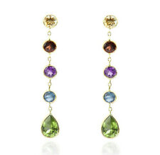 14K Yellow Gold Station Stud Earrings With Round Gemstones And A Peridot Drop