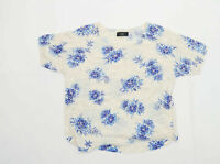 Next Womens Size 14 Floral Cream Top (Regular)