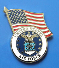 USAF US AIR FORCE LOGO USA FLAG LAPEL PIN BADGE 1 INCH