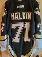 RARE Sewn #71 Evgeni Malkin True Rookie Retro CCM Pittsburgh Penguins Jersey XL
