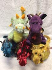 Dragon Plush Cuddle Toy Lot: Douglas Ruby Red, Blue Jade Gold Topaz + 2 Webkinz