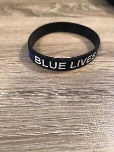 Blue Lives Matter Thin Blue Line Silicone Bracelet Police
