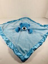 Kids of America Blue Teddy Bear Soft Plush Satin Edge Baby Blanket Lovey