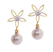 Crystal Pearl Floral Drop Earrings Women Gift Wedding Fashion Jewelry Gift Stud