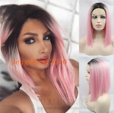 Ombre Pink Short Bob Lace Front Wig Straight pastel hair Tonya women Trendy Wigs