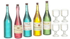 Wine, Champagne, Spirit Bottles With Glasses, Dolls House Miniatures, 1.12 Scale