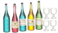 Botellas de vino, champán, espíritu con gafas, Casa De Muñecas Miniaturas, escala 1.12