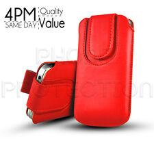 Button Premium PU Leather Pull Tab Pouch Case Cover For Various HTC Phones