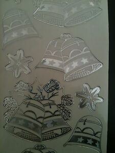 BELLS XMAS SILVER TRANSPARENT PEEL OFFS YOU CAN DECOUPAGE
