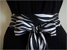 "2.5""X85""BLACK WHITE ZEBRA ANIMAL PRINT SATIN SASH BELT SELF TIE BOW for DRESS"