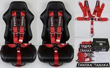 "2 X TANAKA RED 5 POINT CAMLOCK RACING SEAT BELT HARNESS 3"" SFI 16.1 CERTIFIED"