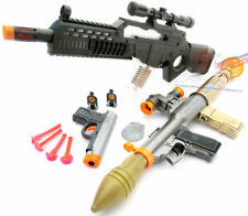 3x Toy Guns Electronic Special Forces Rifle Toy Bazooka Grey 9MM Dart Pistol