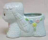 Vintage Napco Nursery Planter Lollipop Holder Blue Lamb with Bow and Flowers