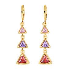 18K Gold Plated Triangle Women Multi-color White CZ Long Drop Earrings Jewelry
