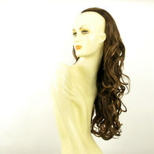DT Half wig HairPiece long wavy chocolate clear poly mesh copper  25.6 :15/627c