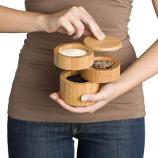 Bamboo Salt Box, Salt Jar, Kitchen Seasoning Container With Magnetic Swivel Lid