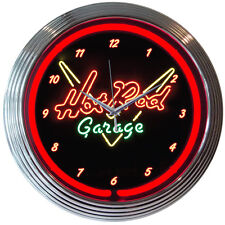 "Hot Rod Garage Script Logo Red Neon Hanging Wall Clock 15"" Diameter"