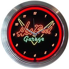 "Hot Rod Garage Script Logo Red Neon Hanging Wall Clock 15"" Diameter"