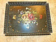Vintage Hand Painted Tole Toleware Footed Tray w Raised Rolled  Rim Floral