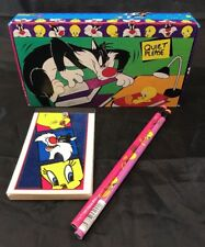 Tweety Bird & Sylvester Pencil Box With Paper Pad & Pencils