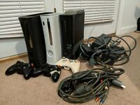 Lot of 3 Microsoft Xbox 360 consoles BUNDLE For PARTS, AS-IS READ DISC.