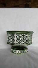 1960s Relpo Flower Pot Planter #5965 ~ Green and White ~ Octagon shaped ~ retro