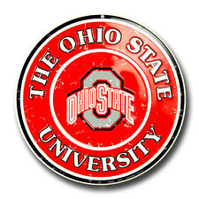"OHIO STATE UNIVERSITY 12"" ROUND EMBOSSED METAL SIGN OHIO STATE BUCKEYES MAN CAVE"
