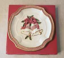Fitz and Floyd Collectible Christmas Cookie/Canape Plate Holiday Bells Winter