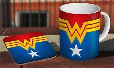 Wonder Woman Awesome Ceramic Coffee MUG + Wooden Coaster Set