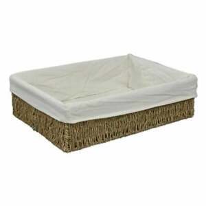 Seagrass Lined Storage Basket Empty Gift Hamper Shallow Tray Woven Wicker Home