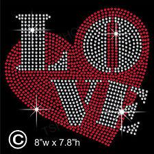 Love & Heart Rhinestone Transfer Hotfix Iron on Motif Appliqué with a Free Gift