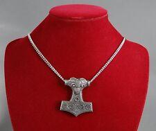 Large Viking Thor's Hammer Mjölnir Pendant on Chain in Fine Pewter