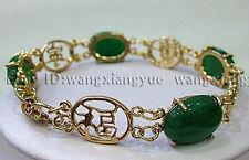 "Beautiful!Natural Green Jade Inlay Link Jewelry Bracelet 7.5"" AAA Grade"