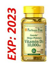Vitamin D D3 10000 IU Mega Potency 100 Softgels Max Strength MADE in USA 2023