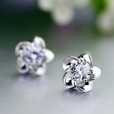 Elegant Ladies Shiny Crystal 925 Sterling Silver Plum Blossom Ear Stud Earrings