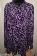Simply Be Woman's Plus Lt/Dk Purple Floral Lace LOOK Button Down Shirt Size 24