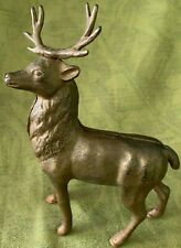 Antique Cast Iron Deer Coin Bank - Gold Paint w/ Antlers (Arcade Co.) 1920s