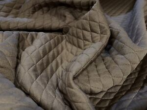 Mock Diamond Quilted Stretch Double Jersey Fabric, Per Metre - Taupe