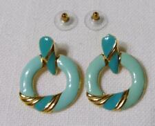 New listing Beautiful Gold Tone & Two Tone Blue Enamel Door Knocker Style Post Earrings