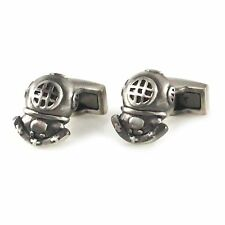 New Antique Burnished Silver Novelty Diving Helmet Cufflink With Box 0087