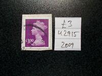 GB 2009 Security Machin~£3~SG U2915~S/A~Good Used~UK Seller