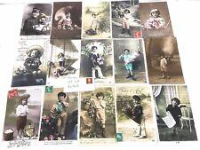 """Lot de 15 Cartes postales, CP """"1900""""  garçons, le facteur…"""