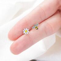 Cute Bee SunFlower Asymmetric Zircon Stud Earrings for Women Girls Animal Jewel