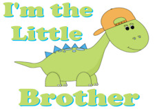 I'M THE LITTLE BROTHER A5 IRON ON TRANSFER A5 DINOSAUR T SHIRT TRANSFER A5